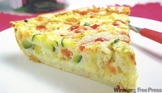 Impossible garden vegetable pie is like a light quiche and is suitable for a meal served at any time of the day.