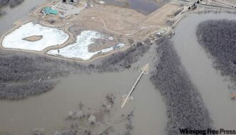 An aerial view of the Assiniboine River in Brandon last week. The only time it has been higher was in 1923.