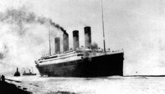 The luxury liner Titanic departs Southampton, England, prior to her maiden Atlantic voyage en route to New York City.