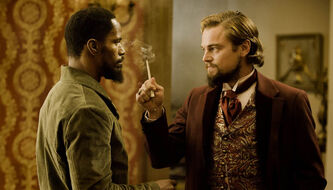 "Publicity file photo released by The Weinstein Company, from left, Jamie Foxx and Leonardo DiCaprio star in the film, ""Django Unchained""."