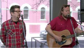 Andy Maize and Josh Finlayson of the Skydiggers perform Wednesday at the Winnipeg Free Press News Café.