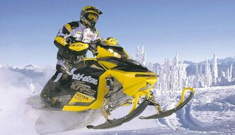 Other than the familiar yellow paint, the modern Ski-Doo, above, shares little with its early Bombardier ancestor, below.