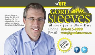 Screen grab of Gord Steeves campaign website