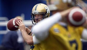Blue Bomber quarterback Buck Pierce at practice.