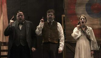 Assassins Steve Ross as Guiteau (from left), Shane Carty as Booth and Janet Porter as Fromme