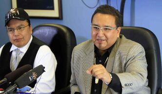 MKO Grand Chief David Harper (right) and Manto Sipi Cree Nation Chief Michael Yellowback at a new conference Monday regarding  comments described as bullying and discrimination toward a First Nations family.