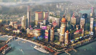 FILE - In this file image provided by Electronic Arts/Maxis, concept art for a waterfront city is shown for the video game