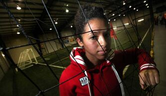 Olympic midfielder Desiree Scott poses at the Seven Oaks indoor soccer complex on Feb. 14, 2012.