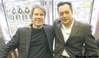 WSO music director Mickelthwate (left) and composer-in-residence Ho at the offices of the Lögberg-Heimskringla newspaper.