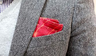 Designer Hugh and Crye's pocket square ($30) adds a pop of colour.