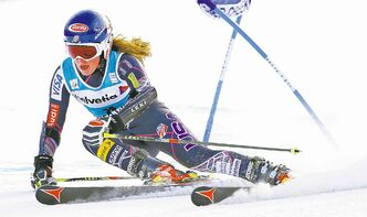 Mikaela Shiffrin rips down course during the first run of the women's World Cup giant slalom in Beaver Creek, Colo., Sunday.