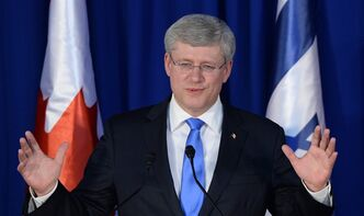 Prime Minister Stephen Harper takes part in a joint press conference with Israeli Prime Minister Benjamin Netanyahu (not pictured) in Jerusalem, Israel on Tuesday, January 21, 2014. The lingering effects of Harper's visit to the troubled region this week are likely to have little impact on its vast web of conflict. At home in Canada, however, they might well continue to resonate — possibly right into next year's federal election. THE CANADIAN PRESS/Sean Kilpatrick