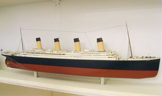 This photo released by the South Street Seaport Museum, on Monday, April 9, 2012, shows a model of the Titanic on display at the museum in New York. The infamous ocean liner sank on April 15, 1912, after hitting an iceberg during its maiden voyage to from Southampton, England to New York. An exhibit featuring the Titanic opens Tuesday at the museum. (AP Photo/South Street Seaport Museum)