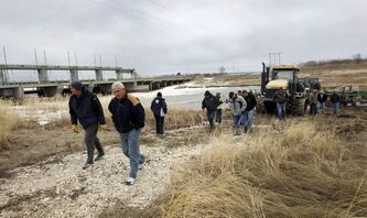 Farmers protest at the Portage Diversion earlier this week.