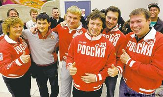 Russia said nyet to Jason Gunnlaugson (fourth from left) and fellow Manitobans Tyler Forrest (second from right) and Justin Richter (far right).