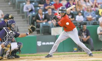 Alonzo Harris of the New Jersey Jackals eyes a fastball from Goldeyes starter Matt Jackson during the ball game at Shaw Park Monday.