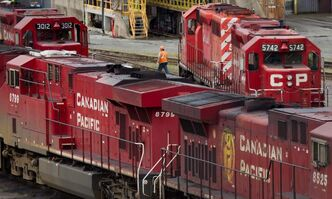 CP locomotives sit idle at the company's Port Coquitlam yard on Wednesday.