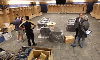 The Blue Bombers' massive new dressing room has space for 68 permanent lockers and a dozen more temporary lockers during training camp.
