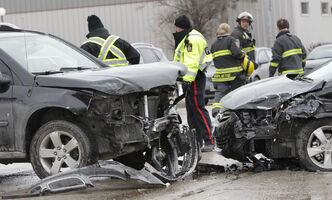 Emergency crews at a collision on Osborne Street South which sent two people to hospital and caused southbound traffic to be re-routed for a short time this afternoon.