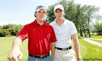 David and Jonathan Toews renewed their links rivalry at Niakwa Country Club on Sunday. No word on who won all the snips.