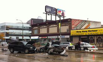 A man died after a collision on Portage Avenue on Monday.