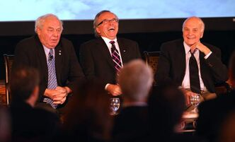 Former premiers (from left) Ed Schreyer, Gary Filmon and Howard Pawley at the business conference. Gary Doer appeared live via video link.