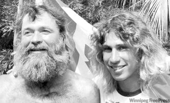 Dana Starkell (right) with his dad on their 19,490-km trip to Brazil's Amazon River.