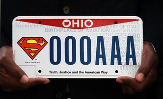State representative Bill Patmon holds the new Superman license plate that will be available from the Bureau of Motor Vehicles on Oct. 7, 2013 in Cleveland. Ohio fans of the Man of Steel now officially can have the Superman logo on their wheels. A license plate with the iconic