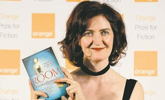 Emma Donoghue poses with Room before the 2011 Orange Prize for Fiction announcement.