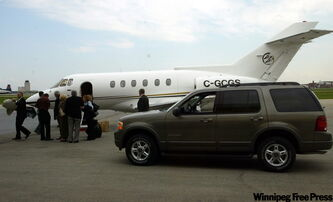 Martha Stewart arrives in Winnipeg on a Canwest company jet in 2002. Tribal Councils Investment Group purchased the corporate jet in a fire sale.