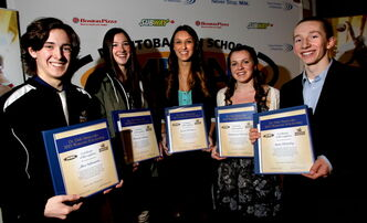 Recipients of the 2012-2013 Dr. Dale Iwanoczko Memorial Volleyball Scholarships of $750.00 are from right, Alex Sabourin of College Regional Gabrielle Roy in Ile-des-Chenes, Brianna Solberg of Miles Macdonell Collegiate, Laura McManes of Glenlawn Collegiate, Mackenzie Murray of Glenboro Collegiate and Sam Murphy of Vincent Massey Collegiate. The scholarships are are awarded annually in the memory of volleyball player Dr. Dale  Iwanoczko from Selkirk, Manitoba to students that have proficiency in volleyball, maintain a high academic standing and take part in community activities.    (WAYNE GLOWACKI/WINNIPEG FREE PRESS) Feb. 20 2013