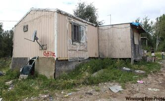 Richard Andrews' trailer on Wasagamack First Nation.