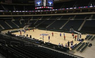 The MTS Centre was configured for basketball during an NBA practice Tuesday morning. The Detroit Pistons will face the Minnesota Timberwolves in a preseason NBA game tonight.