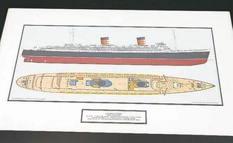Smedts has a thing for vessels, whether it's detailed plans (above) or artistic renderings of oceanliners (below).