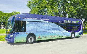 New Flyer's bus is powered by an electric battery. Winnipeg will get four of them.