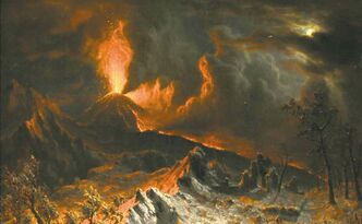 An 1868 painting called �Mount Vesuvius at Midnight� by Albert Bierstadt.