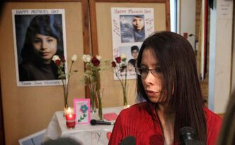 Gail Nepinak, Tanya Nepinak's sister, during the 2013 Mother's Day memorial for missing and murdered women held at the Thunderbird House.