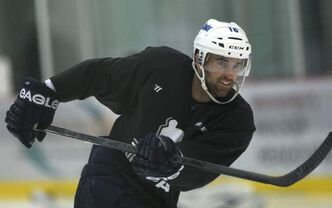 Andrew Ladd practises at the MTS Iceplex.