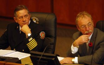 Fire-paramedic chief Reid Douglas (left) was fired before a review into a scandal is made public. City CAO Phil Sheegl may be the next to go.