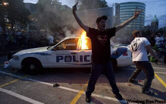 A scene from the riot that broke out in Vancouver after the Canucks lost the Stanley Cup championship in June 2011.