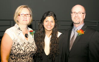 Maples Collegiate co-principal Verland Force, valedictorian Divya Punj, and school co-principal Blair Peppler.