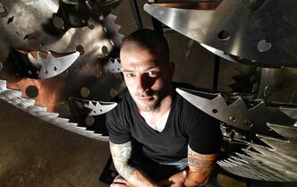 Magician/illusionist Darcy Oake inside a giant trap he used at a Winnipeg show in 2012. The stunt was similar to the one he performed in the finals of Britain's Got Talent on Saturday.