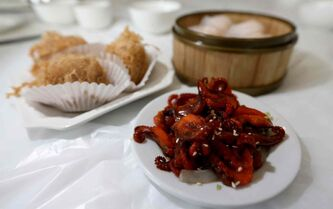 Clockwise from left, Woo Kok, Shrimp Dumplings and Octopus in Chili Oil at Dim Sum Garden.