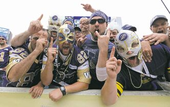 Winnipeg Blue Bombers' fans during the Banjo Bowl against the Saskatchewan Roughriders in 2013.