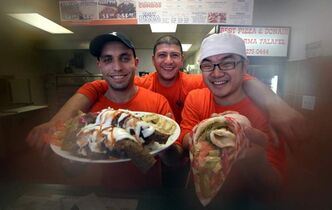 Left to right, Loai Assaf, Taz Adel and Yenu Li will be happy to serve up a donair platter and a chicken shawarma (right) at Best Pizza & Donair.