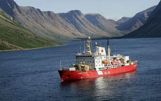 The icebreaker Amundsen in the Nachvak fjord in northern Labrador.
