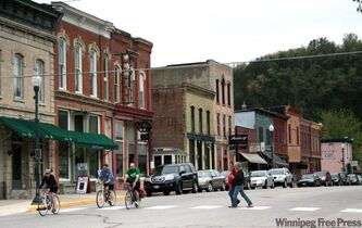 The main drag of historic Lanesboro, MN, where bike trails meet theatre.