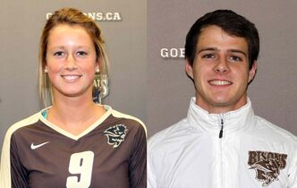 Brittany Habing (left), is a setter for the women's volleyball team and second in the western conference for assists. Cody Mages, is a middle distance runner for the Track and Field team and is sixth fastest in the western conference for the 600-metre run.