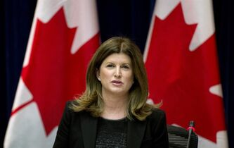 Health Minister Rona Ambrose speaks about Canadian efforts on the Ebola outbreak Monday October 20, 2014 in Ottawa. THE CANADIAN PRESS/Adrian Wyld