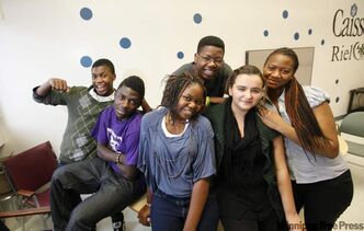 College Louis Riel students who immigrated from Africa have become very involved in student activities. From left: Nathan Nelsen, Florend Alimasi, Neche Borel, N' Diaye Inna, Ruth Mukuna and Fairouz Khadarchi.